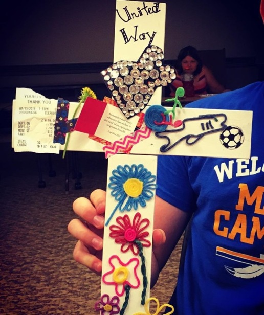 Each mission group made a cross with objects that represented their mission experience.